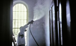 using  a fog system with all organic cleaning solution