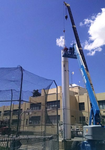 Exhaust stack being repaired at Helena Middle School.
