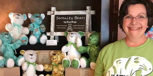 Aysha Hall with Serenity Bears Memory Bears
