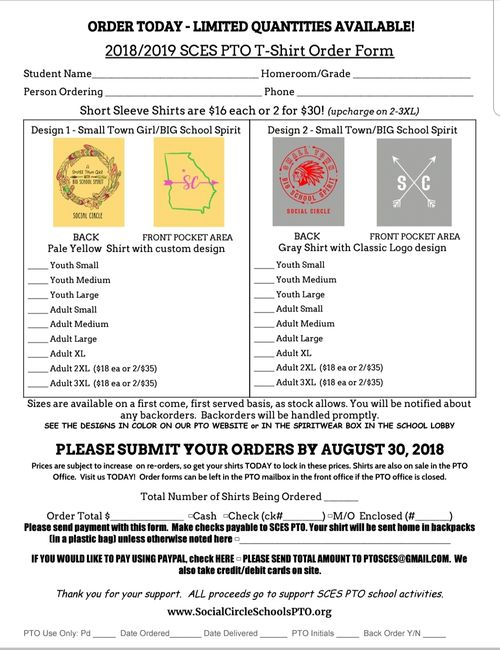Social Circle Elementary School T-shirt order form for the 2018/2019 school year.  Get yours TODAY!