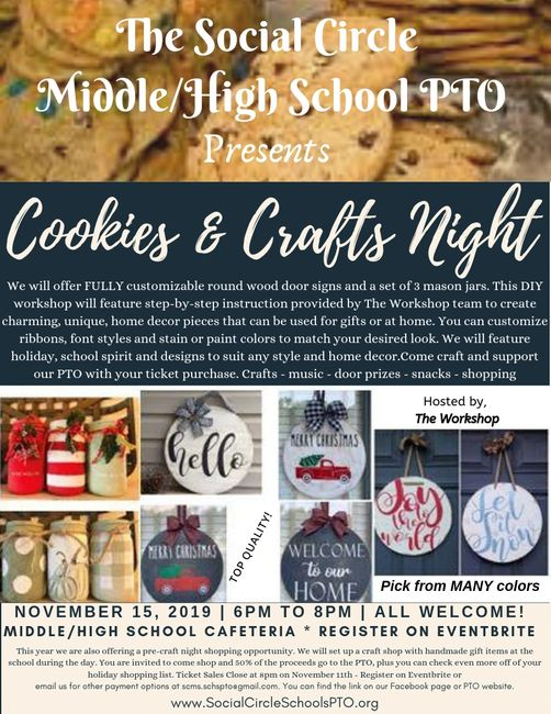 Cookies & Craft Night Fundraiser hosted by the Social Circle Middle/High PTO.