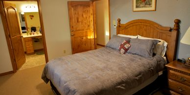 Country themed accommodations with a private entrance and large walk-in shower.