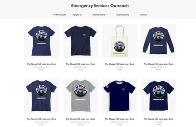 Picture of the Emergency Services Outreach Teespring store and products. Click the button or this im