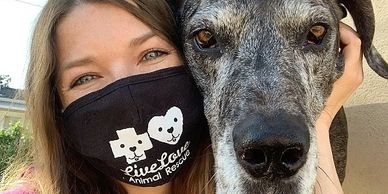 Image of Lisa in a Live Love face mask with her Great Dane Drogo