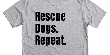 Image of Live Love's special edition Rescue Dogs. Repeat. t-shirt