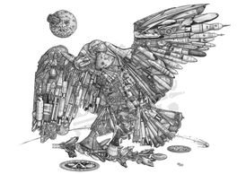 Eagle Has Landed: Apollo 11 Eagle made of spacecraft, rockets, satellites, space toys and the moon