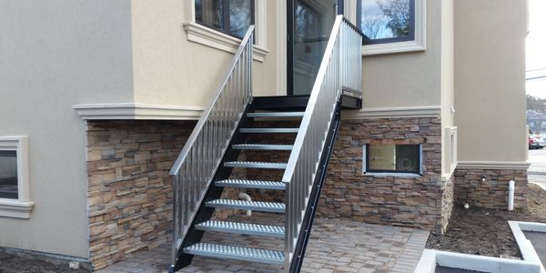 custom fabricated stair platform
