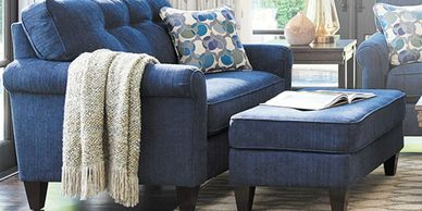 oversized blue upholstered chair with oversized blue upholstered ottoman