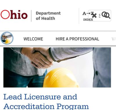 Welcome page to Ohio Department of Health Lead Department
