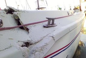 Damaged Sailboat that needs to be fixed, W.D, Schock can help. We are close to the ocean.