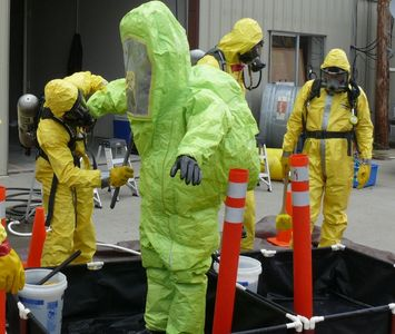 Decontamination training includes practical exercises using local equipment