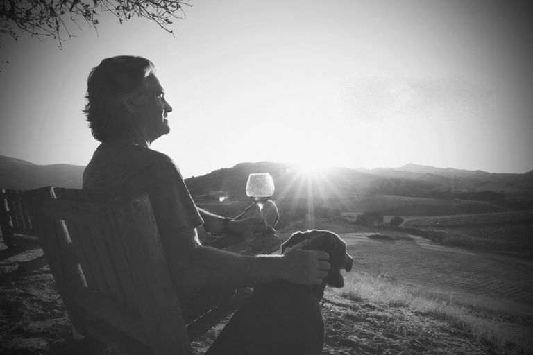Man sitting with glass of wine and dog overlooking hills in wine country