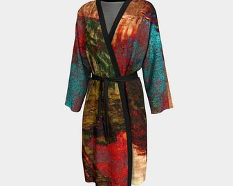 Soft Kimono Robe with circles of color for sale as a Unisex fashion design by Claire Bull
