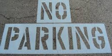 No Parking Stenciling on Asphalt or concrete Bakersfield California