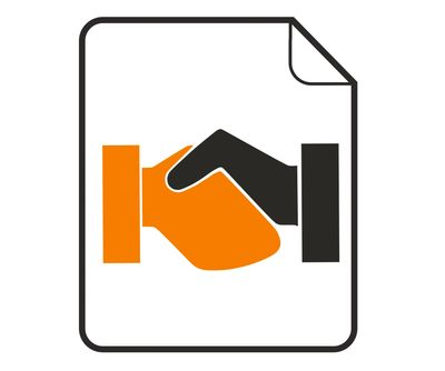 graphical icon of two hands shaking on a document to depict the making of a deal to license an idea.