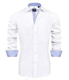 J.VER Mens Casual Long Sleeve Stretch Dress Shirt Wrinkle-Free Regular Fit Button Down Shirts