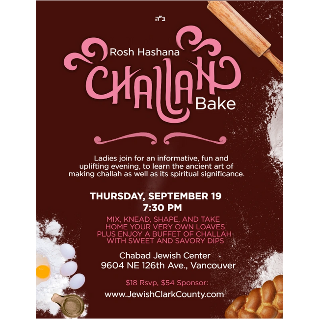 Ladies join for informative, fun and uplifting evening to learn the ancient art of making challah