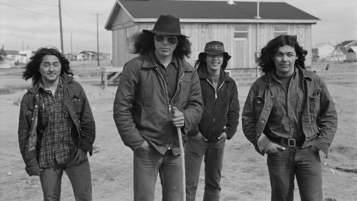 Oliver Rupert, in sunglasses, and other young Cree men in Fort George, Quebec in 1973.  P