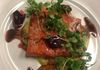Seared Salmon, Leek Soubise, Red Wine reduction & Micro Arugula - Course 3