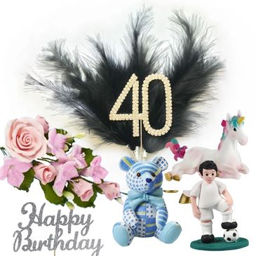 Diamante topper, sugar flowers, cake pics, feathers, photo toppers, mottos, candles, cupcake toppers