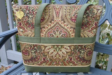 Green, gold paisley bag, purse