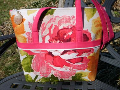 Feather Stitches Large flower linen tote bag