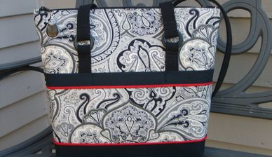 Feather Stitches black, gray paisley purse, bag