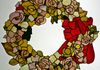 Red Rose Wreath stained glass for City of Denton Civic Center