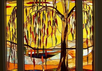 Autumn Willow stained glass window