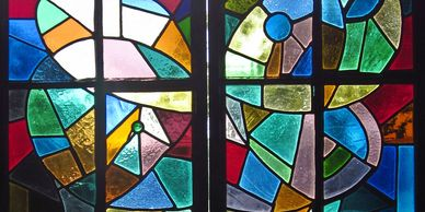 Colorful stained glass window.