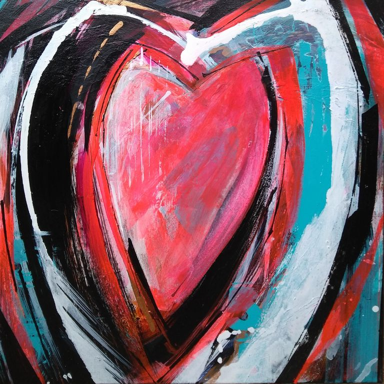 5 Hearts - acrylic abstract painting...