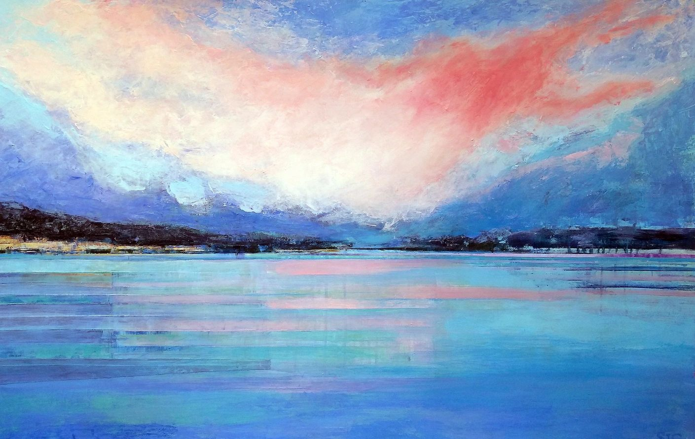 Lake Maggiore, Italy spreads out under a pink cloud sundown. Private Collection.