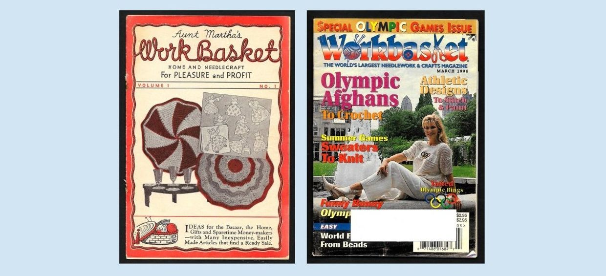First and Last Issues of Workbasket Magazine spanning 60 years.