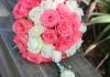 white rose and coral mix