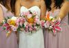 tropical bridal bouquet shown with two bridesmaid bouquets