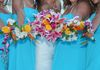 our tropical mix shown with bridesmaid's bouquets!