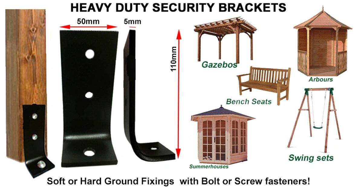 Gazebos Arbours Bench Seats Swing sets Summerhouses security brackets