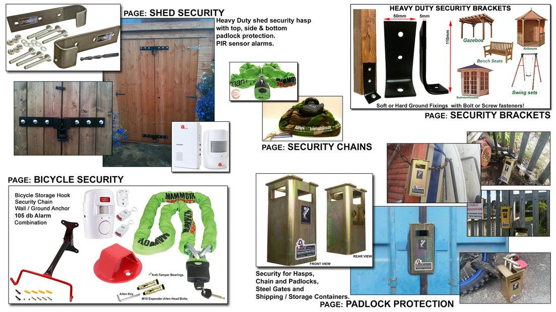 SECURITY PRODUCTS SHED SECURITY SECURITY BRACKETS SECURITY CHAINS SHIPPING CONTAINER SECURITY