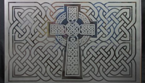 Sand Etched Celtic Cross.