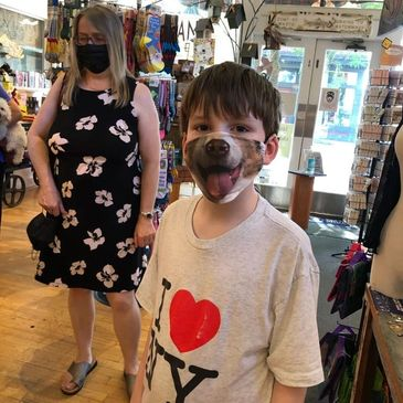 Happy Customer wearing one of our Dog Masks