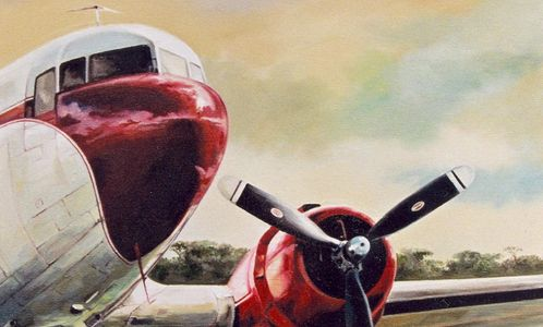 Keith McAllister, Wildlife art, oil painting, DC3, African adventure, travel art,