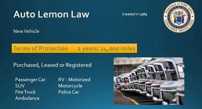 Lemon Law Nj Used Car >> Vehicle Lemon Law Bergen Passaic County Division Of