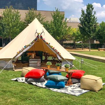 glamping party in Jackson MS with Upcountry Camp