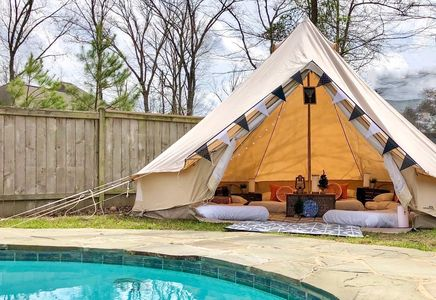 glamping sleepover backyard camping Mississippi