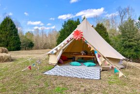 glamping sleepover tent backyard camping Mississippi