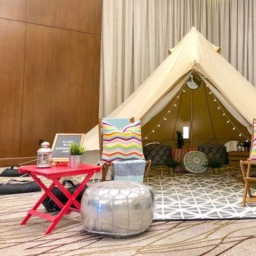 glamping tent on a solid surface