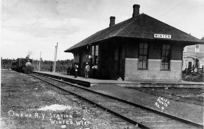 CNW Railroad Depot, Winter, Wisconsin, 1915.  Will be restored to visitor welcoming center, trailhea