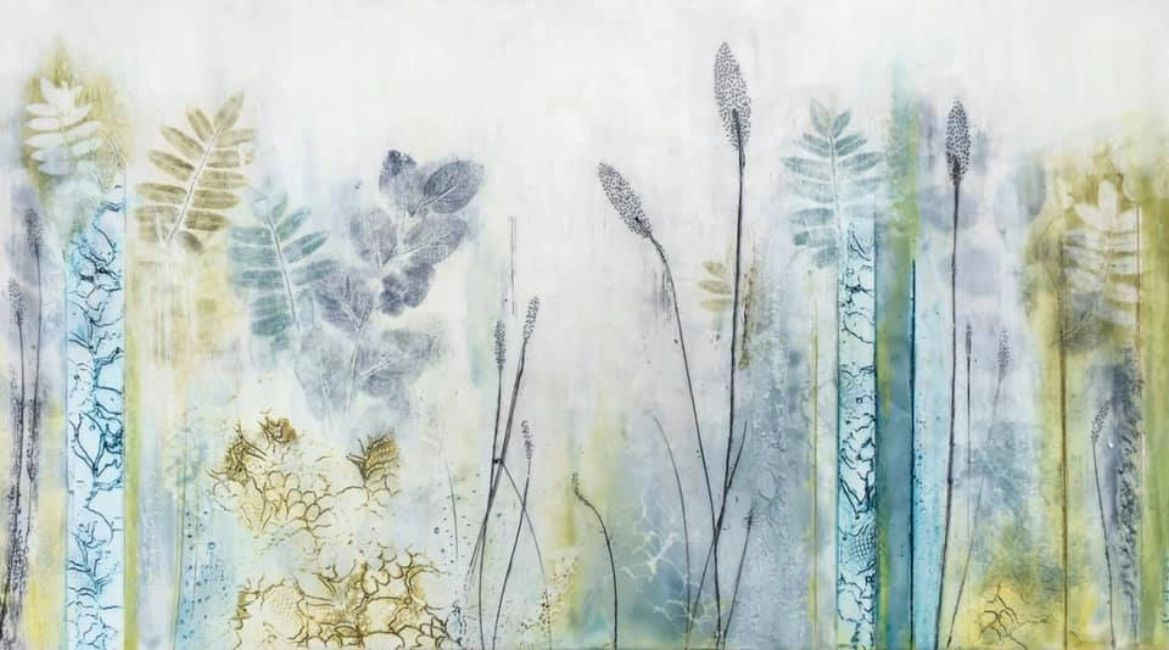 Original encaustic painting done in blues and greens.  Inspired by the rural Ontario Landscape