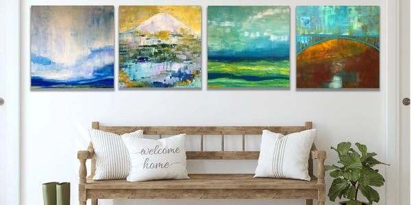 Original Abstract Landscape Art Pacific Northwest, Landscape Paintings Large Wall Art, Original Art