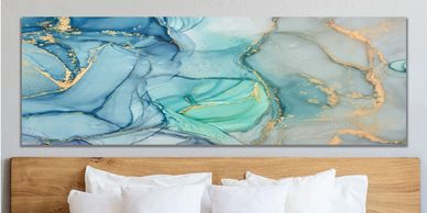Blue and Green Acrylic Pour Painting on Canvas, Horizontal Bedroom Paintings, Alcohol Ink Paintings